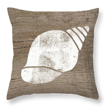 White Seashell- Art By Linda Woods Throw Pillow
