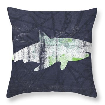 White Shark- Art By Linda Woods Throw Pillow