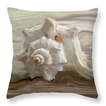 White Shell Throw Pillow by Linda Sannuti