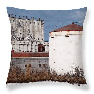 White Silo And Grain Elevator Throw Pillow