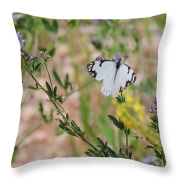 White-skipper On Lupine Throw Pillow