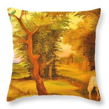 White Stallion Throw Pillow by Jan Amiss