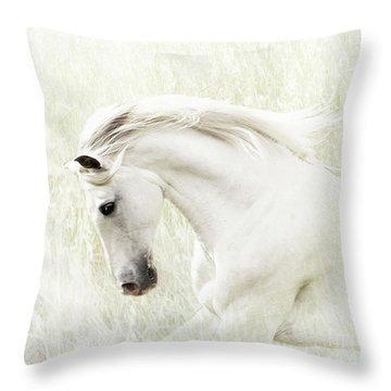 Throw Pillow featuring the digital art White Stallion by Melinda Hughes-Berland