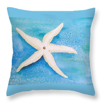 White Starfish Throw Pillow by Patricia Piffath