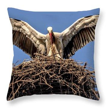White Storks Of Fagagna 7 Throw Pillow