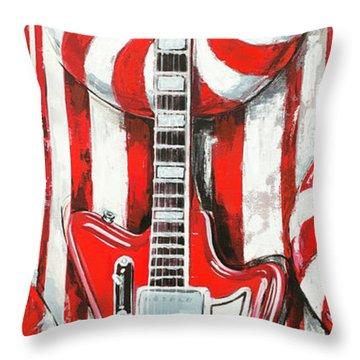 White Stripes Guitar Throw Pillow