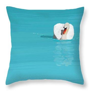 White Swan Blue Lake Throw Pillow