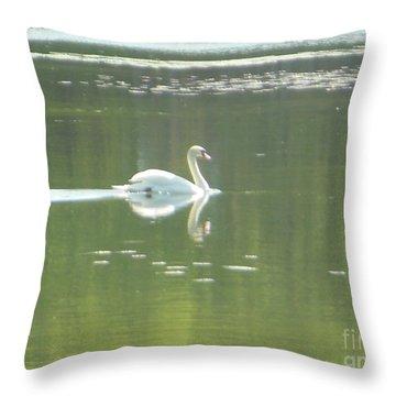 White Swan Silhouette Throw Pillow