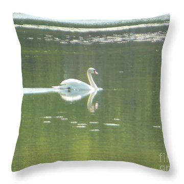 White Swan Silhouette Throw Pillow