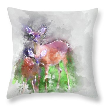 White Tail Deer In Watercolor Throw Pillow