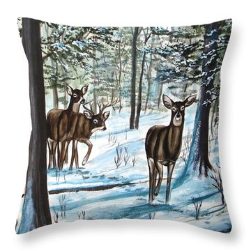 Throw Pillow featuring the painting White Tail Deer In Winter by Patricia L Davidson
