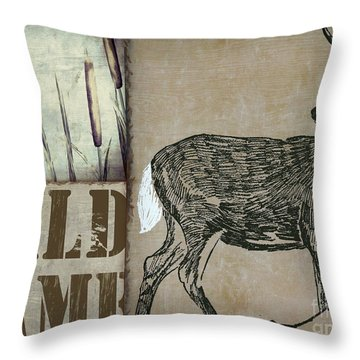 White Tail Deer Wild Game Rustic Cabin Throw Pillow