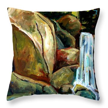Throw Pillow featuring the painting White Tail Falls by Charlie Spear