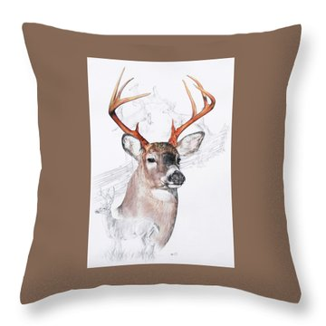 White-tailed Deer Throw Pillow by Barbara Keith