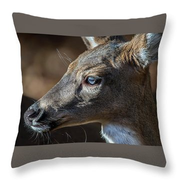 White Tailed Deer Facial Profile Closeup Portrait Throw Pillow
