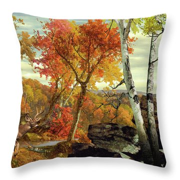 White-tailed Deer In The Poconos Throw Pillow