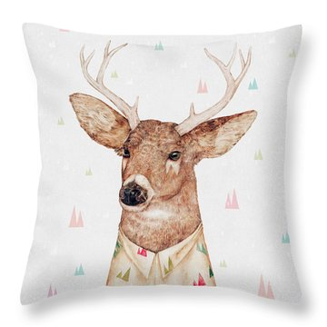 White Tailed Deer Square Throw Pillow by Animal Crew