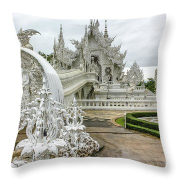 White Temple Thailand Throw Pillow