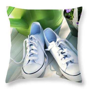 White Tennis Running Shoes Throw Pillow by Sandra Cunningham