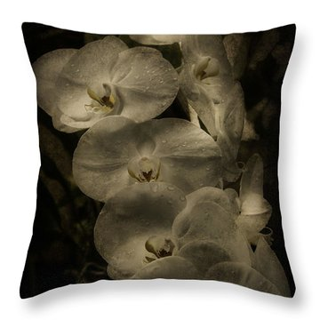 Throw Pillow featuring the photograph White Textured Flowers by Ryan Photography