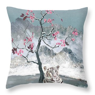 White Tiger And Plum Tree Throw Pillow