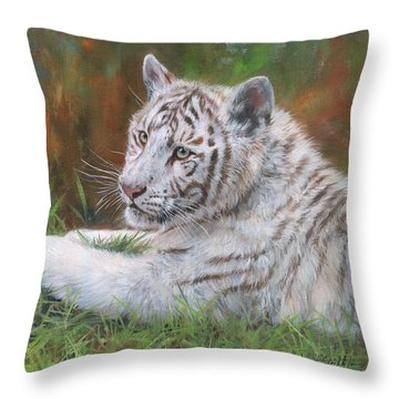 White Tiger Cub 2 Throw Pillow by David Stribbling
