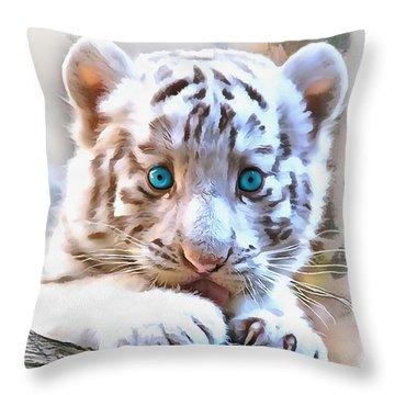 White Tiger Cub Throw Pillow by Sergey Lukashin