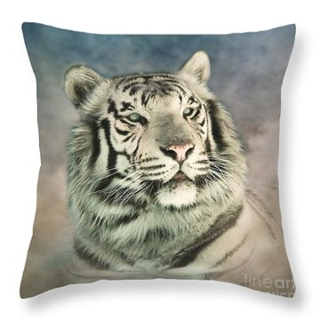 Throw Pillow featuring the photograph White Tiger Digitally Painted Photograph by Clare VanderVeen
