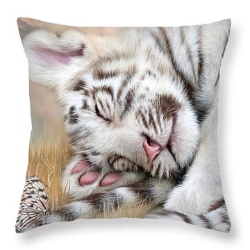 Throw Pillow featuring the mixed media White Tiger Dreams by Carol Cavalaris