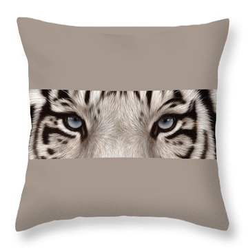 White Tiger Eyes Throw Pillow