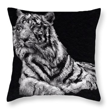 Throw Pillow featuring the painting White Tiger by Mark Taylor