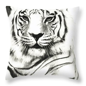 White Tiger Portrait Throw Pillow