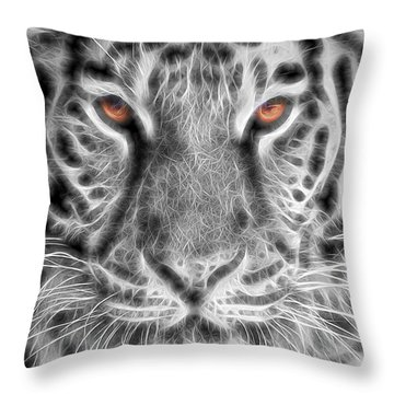 White Tiger Throw Pillow by Tom Mc Nemar