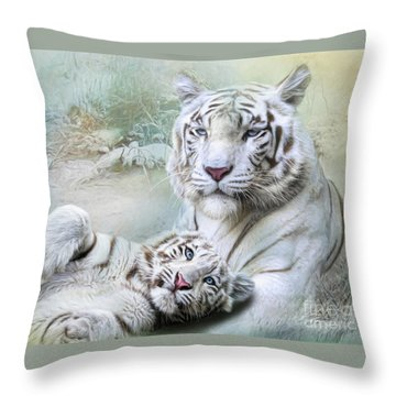 Throw Pillow featuring the digital art  White Tiger by Trudi Simmonds