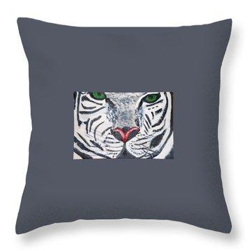 White Tiger Throw Pillow