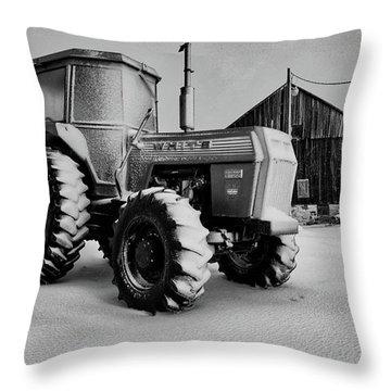 White Tractor Throw Pillow