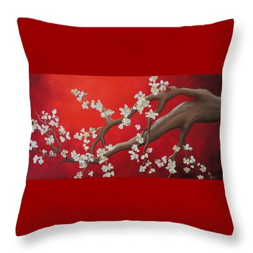 Cherry Blossom Painting Throw Pillow