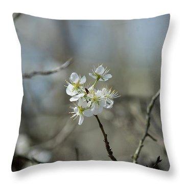 White Tree Bud Throw Pillow
