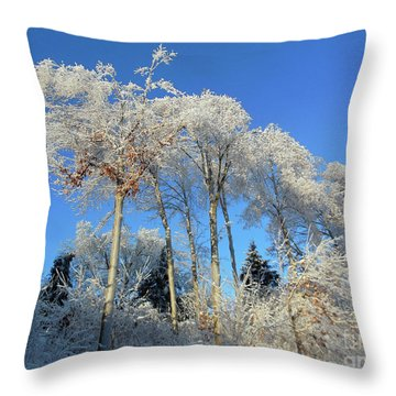 White Trees Clear Skies Throw Pillow