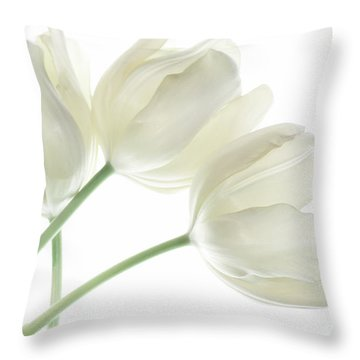 White Tulip Flowers Throw Pillow by Charline Xia
