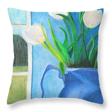 White Tulips Throw Pillow by Arlene Crafton