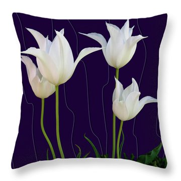 White Tulips For A New Age Throw Pillow