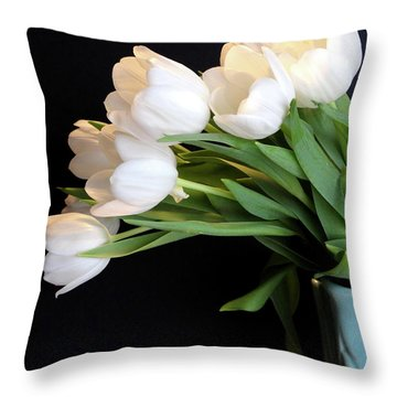 White Tulips In Blue Vase Throw Pillow by Julia Wilcox