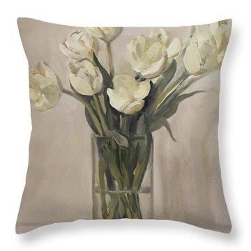 White Tulips In Rectangular Glass Vase Throw Pillow