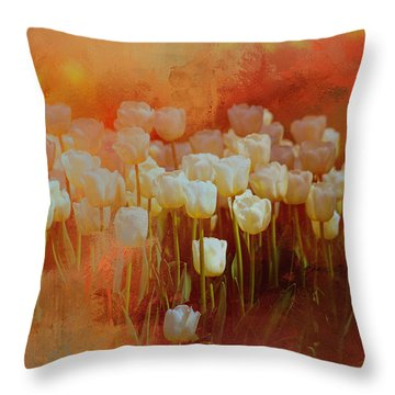 Throw Pillow featuring the digital art White Tulips by Richard Ricci