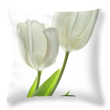 White Tulips With Leaf Throw Pillow by Charline Xia