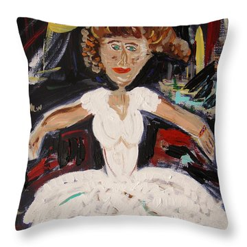 Throw Pillow featuring the painting White Tutu by Mary Carol Williams