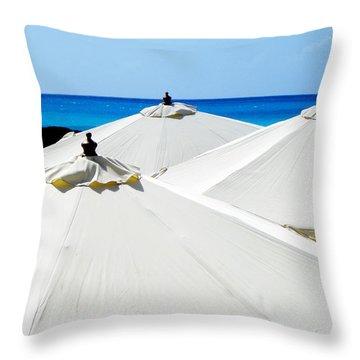 White Umbrellas Throw Pillow by Karen Wiles