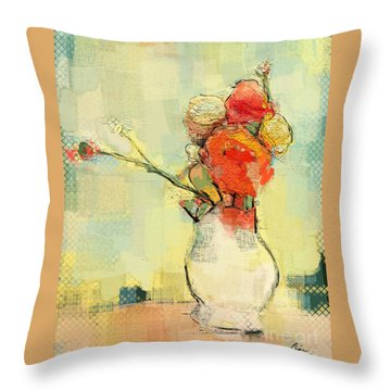 Throw Pillow featuring the painting White Vase by Carrie Joy Byrnes