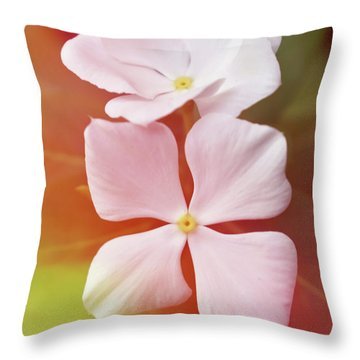 White Vinca With Vivid Highligts  Throw Pillow